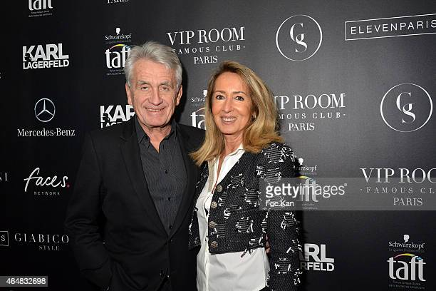 Gilbert Coullier and Nicole Coullier attend the 'Baptiste Giabiconi Stylecom' Launch Party at VIP Room Theater Paris on February 28 2015 in Paris...