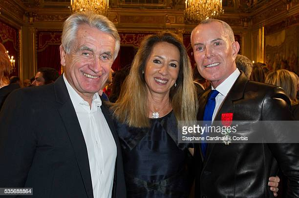 Gilbert Coullier Nicole Coullier and Jean Claude Jitrois attend the Ceremony at Elysee Palace in Paris