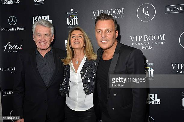 Gilbert Coullier Nicole Coullierand Jean Roch Pedri attend the 'Baptiste Giabiconi Stylecom' Launch Party at VIP Room Theater Paris on February 28...