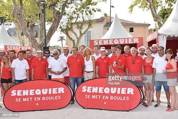 Gilbert Fasola president of La Boule Tropezienne President Thierry Bourdoncle from Senequier Ariane de Senneville red team and White team petanque...