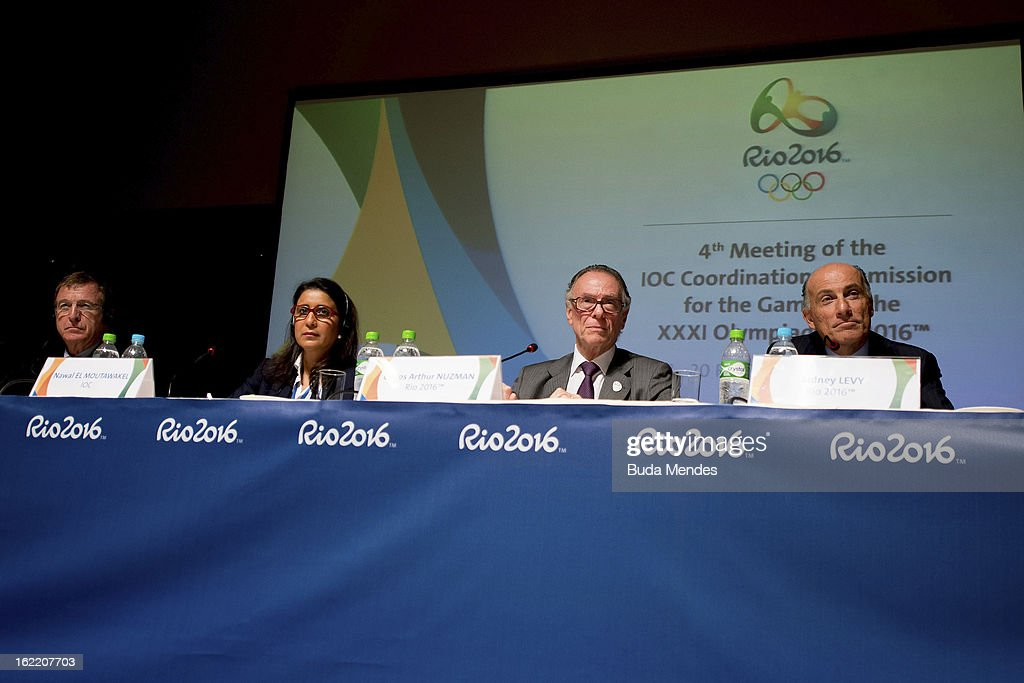 Gilbert Felli, IOC Executive Director for the Olympic Games, <a gi-track='captionPersonalityLinkClicked' href=/galleries/search?phrase=Nawal+El+Moutawakel&family=editorial&specificpeople=215203 ng-click='$event.stopPropagation()'>Nawal El Moutawakel</a>, Chairperson of IOC, Carlos Arthur Nuzman , Brazilian Olympic Committee President and Rio 2016 Olympics Committee President and Sidney Levy, CEO of the 2016 Olympic Games talk during the press conference of 4th Meeting of IOC Coordination Commission for the Olympic Games at Windsor Hotel on February 20, 2013 in Rio de Janeiro, Brazil.