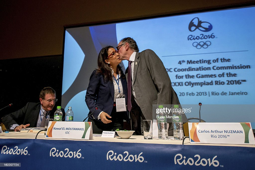 Gilbert Felli, IOC Executive Director for the Olympic Games, Nawal El Moutawakel, Chairperson of IOC and Carlos Arthur Nuzman , Brazilian Olympic Committee President during the press conference of 4th Meeting of IOC Coordination Commission for the Olympic Games at Windsor Hotel on February 20, 2013 in Rio de Janeiro, Brazil.