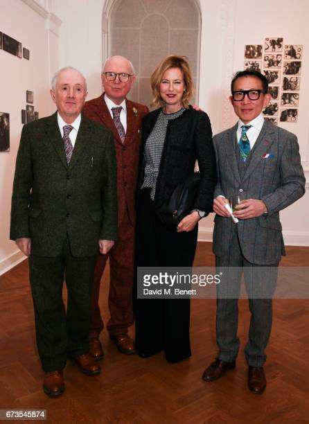 Gilbert George Julia Peyton Jones and Guest attend the opening of Galerie Thaddaeus Ropac London on April 26 2017 in London England