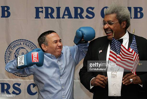 Gilbert Gottfried and boxing promoter Don King prior to King's celebrity roast at the New York Hilton in New York City