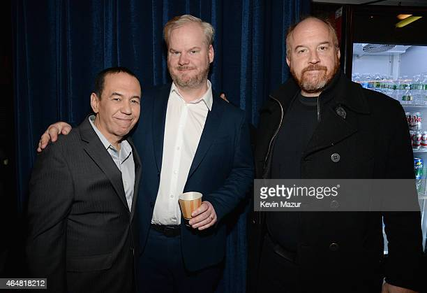 Gilbert Gottfried Jim Gaffigan and Louis CK attend Comedy Central Night Of Too Many Stars at Beacon Theatre on February 28 2015 in New York City