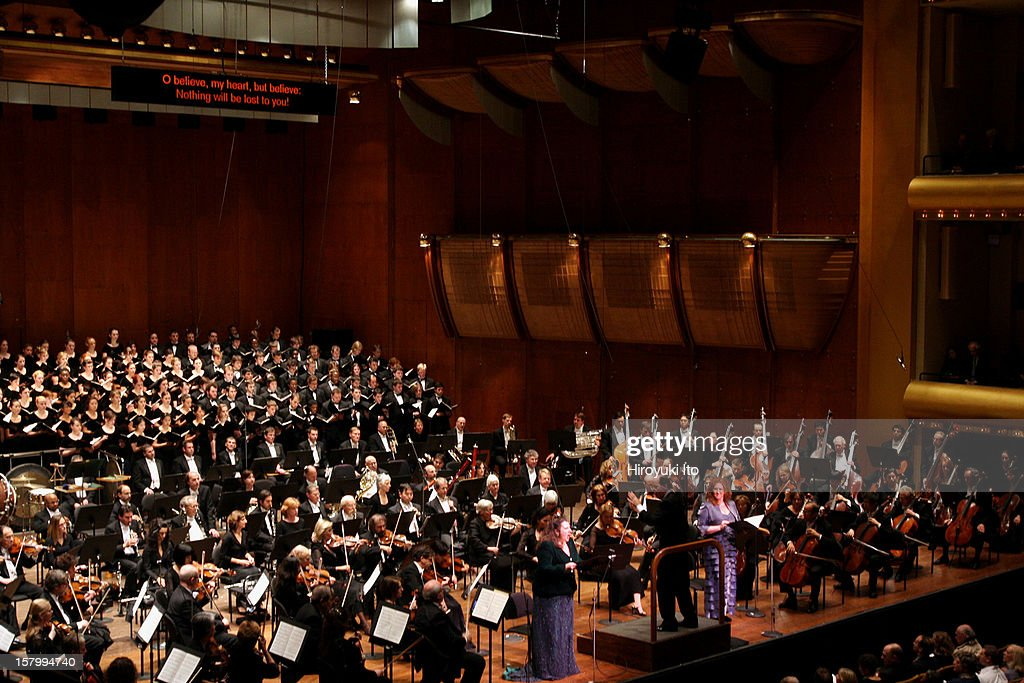 Gilbert Kaplan conducting the New York Philharmonic and Westminster Symphonic Choir in Mahler's 'Symphony No 2 in C minor Resurrection' at Avery...