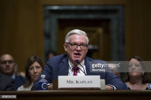 Gilbert Kaplan under secretary of commerce for international trade nominee for US President Donald Trump speaks during a Senate Finance Committee...