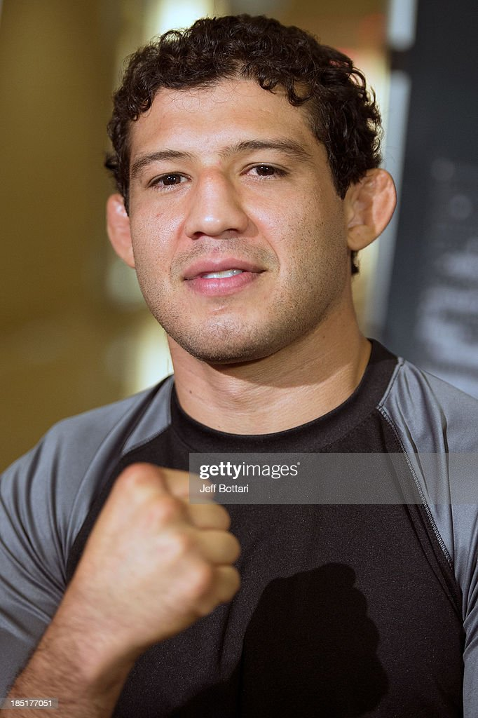 <a gi-track='captionPersonalityLinkClicked' href=/galleries/search?phrase=Gilbert+Melendez&family=editorial&specificpeople=4524975 ng-click='$event.stopPropagation()'>Gilbert Melendez</a> speaks with the media during the UFC 166 Ultimate Media Day at the Toyota Center on October 16, 2013 in Houston, Texas.