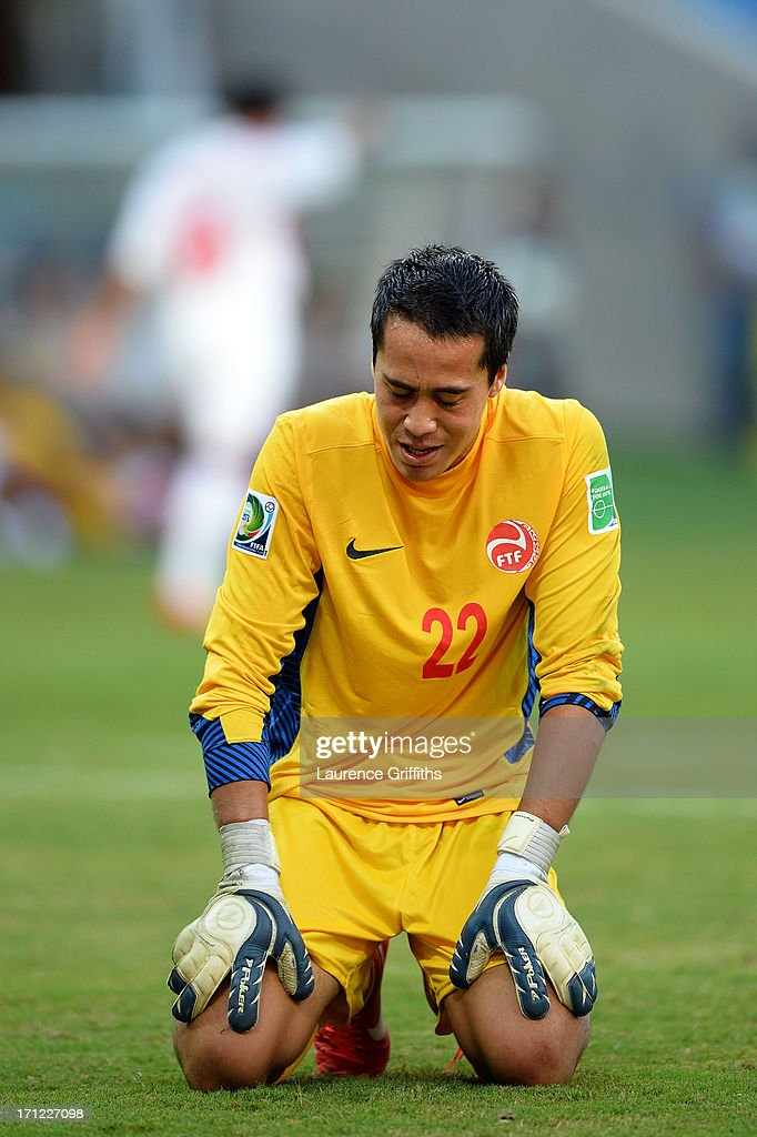 Gilbert Meriel of Tahiti reacts after giving up a goal during the FIFA Confederations Cup Brazil 2013 Group B match between Uruguay and Tahiti at Arena Pernambuco on June 22, 2013 in Recife, Brazil.