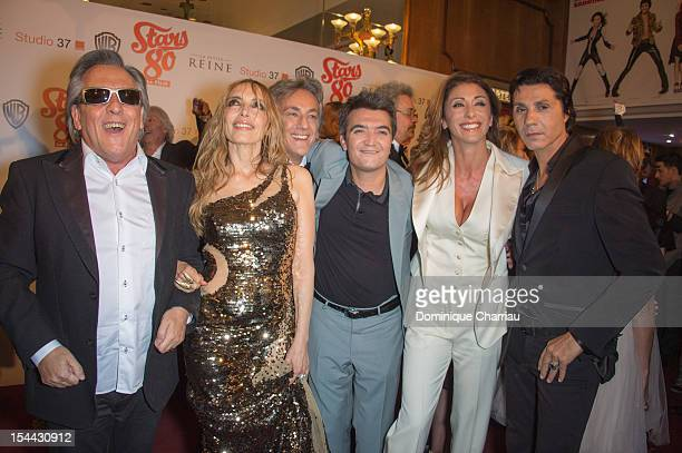 Gilbert Montagne Jeanne Mas JeanPierre Savelli Thomas Langmann Sabrina Salerno and JeanLuc Lahaye attend the 'Stars 80' Film Premiere at Le Grand Rex...