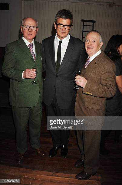 Gilbert Proesch and George Passmore with Jay Jopling attend the dinner following the private view of 'The Urethra Postcard Art of Gilbert George' at...