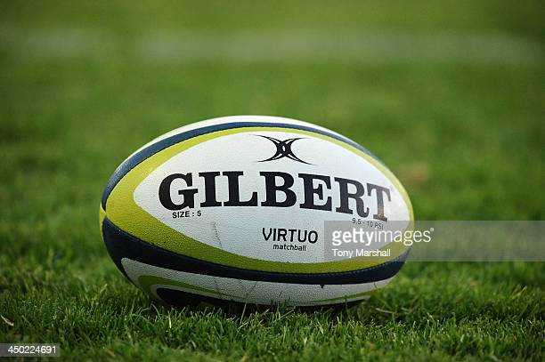 Gilbert rugby ball during the LV= Cup match between Newcastle Falcons and London Irish at Kingston Park on November 10 2013 in Newcastle upon Tyne...