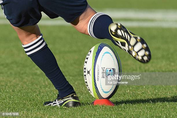 Gilbert Rugby ball is kicked ahead of the round four Super Rugby match between the Crusaders and the Kings at AMI Stadium on March 19 2016 in...