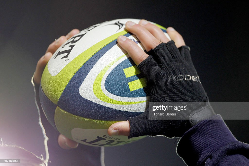 Gilbert Virtuo matchball offiicial Rugby Ball for the LV= Cup match between Newcastle Falcons and Newport Gwent Dragons at Kingston Park on January...