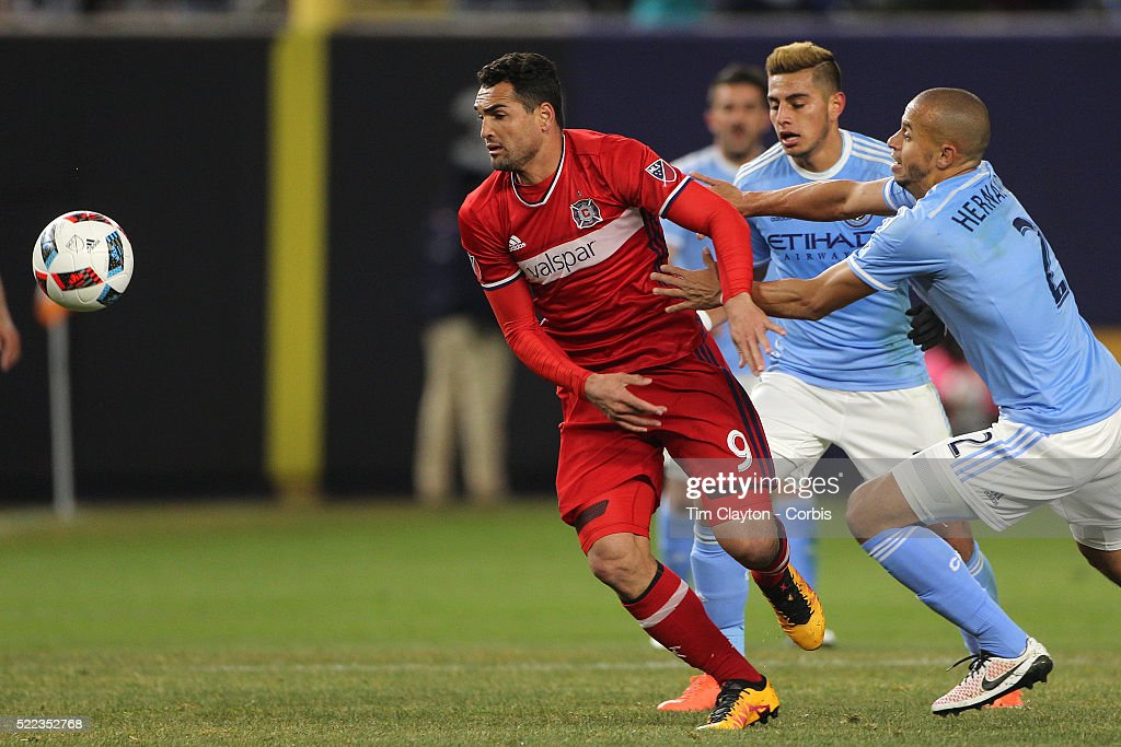 Gilberto, (left), Chicago Fire, is challenged by <a gi-track='captionPersonalityLinkClicked' href=/galleries/search?phrase=Jason+Hernandez+-+American+Soccer+Player&family=editorial&specificpeople=9684404 ng-click='$event.stopPropagation()'>Jason Hernandez</a>, (right), NYCFC, during the New York City FC Vs Chicago Fire MLS regular season match at Yankee Stadium on April 10, 2016 in New York City.