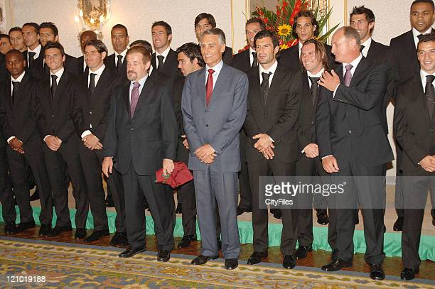 Gilberto Madail Cavaco Silva Luis Figo Maniche and Luis Felipe Scolari President Cavaco Silva hosts the Portugal National Team at Palacio de Belem on...