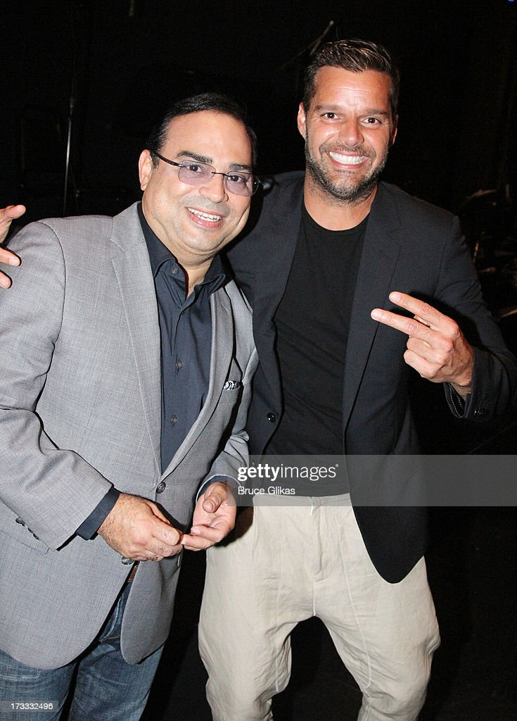 Gilberto Santa Rosa and Ricky Martin pose backstage at the Argentinian dance sensation 'Forever Tango' on Broadway at The Walter Kerr Theater on July 11, 2013 in New York City.