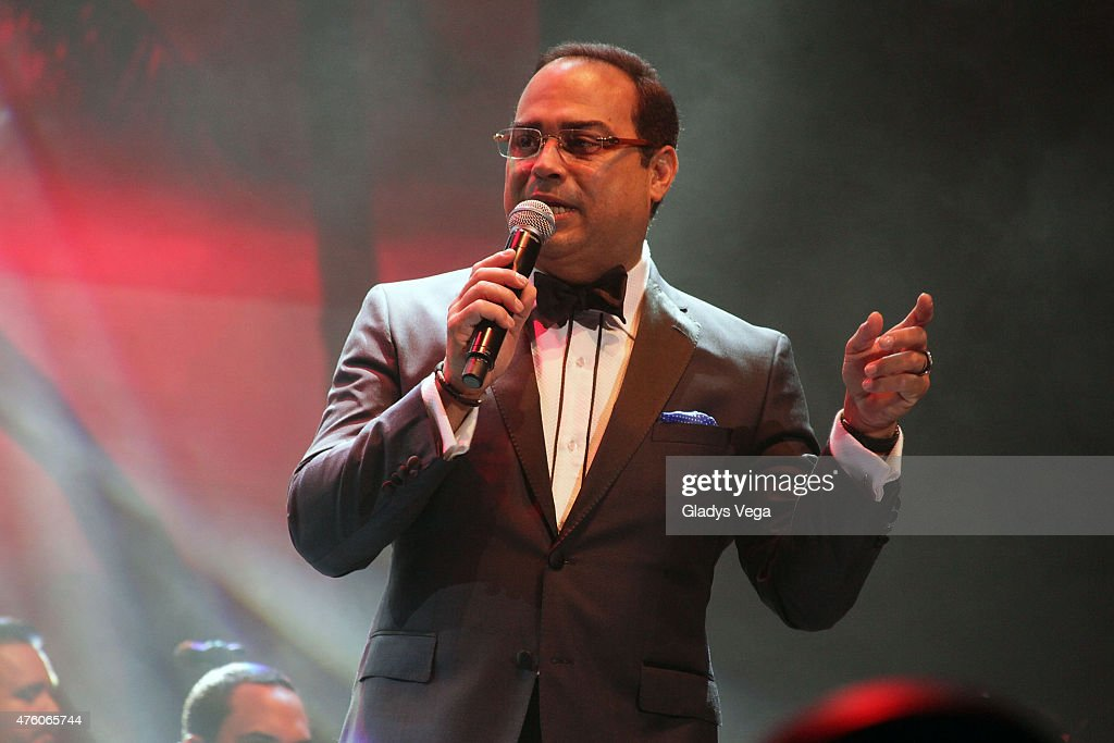 Gilberto Santa Rosa performs a duet with Pedro Capo at Coliseo Jose M Agrelot on June 5 2015 in San Juan Puerto Rico