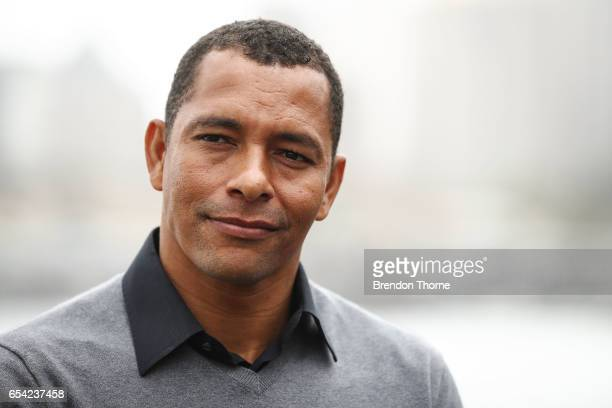 Gilberto Silva addresses the media at a 2017 FIFA Confederations Cup media opportunity at Blues Point Reserve on March 17 2017 in Sydney Australia