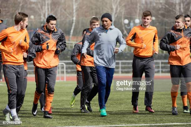 Gilberto Silva during training with young players during Match TV reality show 'Who wants to be a Legionnaire' at Yantar stadium on April 19 2017 in...
