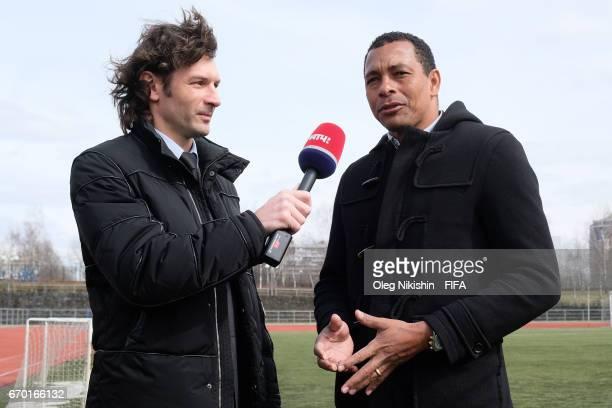 Gilberto Silva meets ex FC Lokomotiv and Russian national defender Dmitry Sennikov during interview to Match TV reality show at Yantar stadium on...