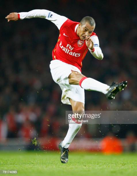 Gilberto Silva of Arsenal in action during the Carling Cup Semi Final Second Leg match between Arsenal and Tottenham Hotspur at the Emirates Stadium...