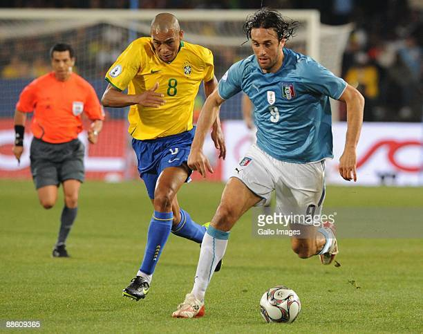 Gilberto Silva of Brazil and Luca Toni of Italy during the FIFA Confederations Cup match between Italy and Brazil at Loftus Versfeld on June 21 2009...