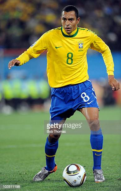 Gilberto Silva of Brazil during the 2010 FIFA World Cup South Africa Round of Sixteen match between Brazil and Chile at Ellis Park Stadium on June 28...