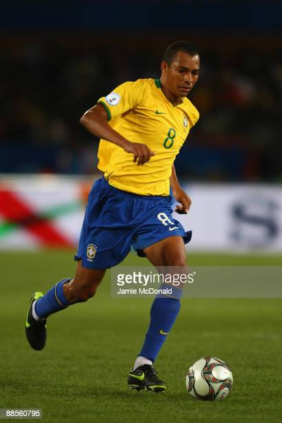 Gilberto Silva of Brazil runs with the ball during the FIFA Confederations Cup match between USA and Brasil at Loftus Versfeld Stadium on June 18...