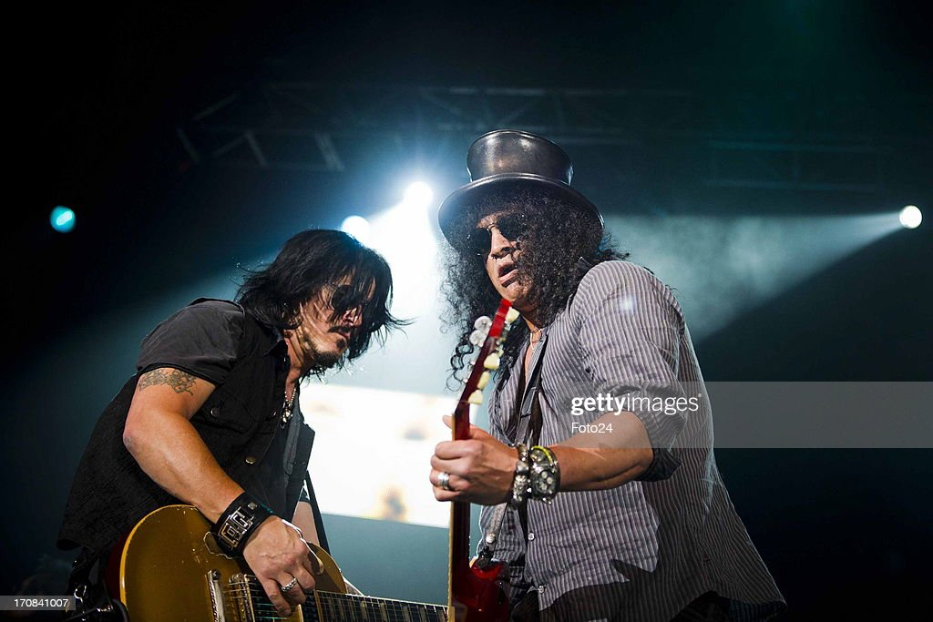 Gilby Clarke and Slash during the Kings of Chaos concert on June 16, 2013 in Sun City, South Africa. Kings of Chaos performed in Sun City on June 15 and 16, 2013.