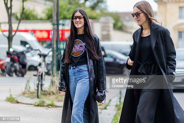 Gilda Ambrosio and Giorgia Tordini outside Loewe on September 30 2016 in Paris France