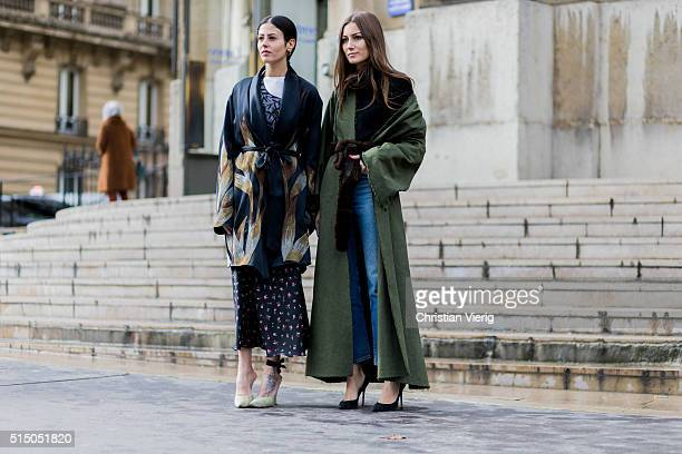 Gilda Ambrosio and Giorgia Tordini outside Miu Miu during the Paris Fashion Week Womenswear Fall/Winter 2016/2017 on March 9 2016 in Paris France