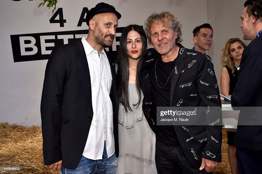 Gilda Ambrosio Andrea Rosso and Renzo Rosso attend Renzo Rosso And OTB Launch 'Radical Renaissance 555' Book on June 17 2016 in Milan Italy