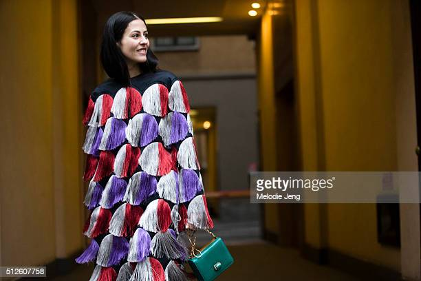 Gilda Ambrosio at the Marco de Vincenzo show during the Milan Fashion Week Fall/Winter 2016/17 on February 26 2016 in Milan Italy