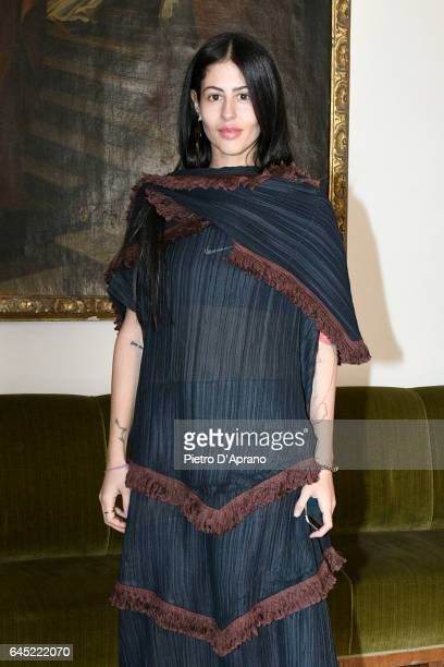 Gilda Ambrosio attends the Blumarine show during Milan Fashion Week Fall/Winter 2017/18 on February 25 2017 in Milan Italy