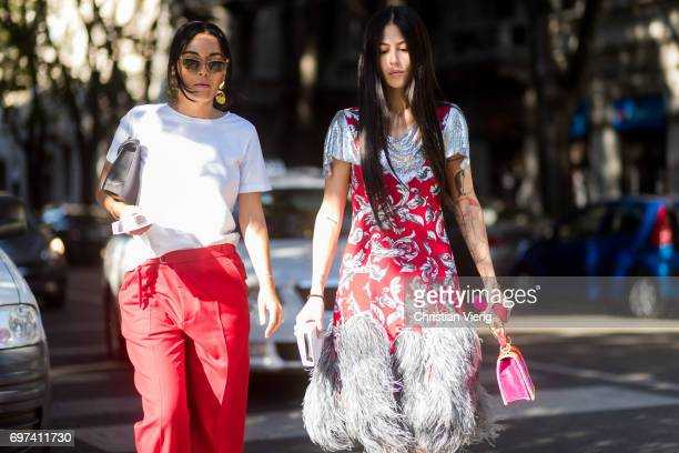 Gilda Ambrosio is seen outside Prada during Milan Men's Fashion Week Spring/Summer 2018 on June 18 2017 in Milan Italy