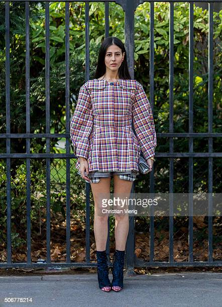 Gilda Ambrosio outside Dior during the Paris Fashion Week Haute Couture Spring/Summer 2016 on January 25 2016 in Paris France