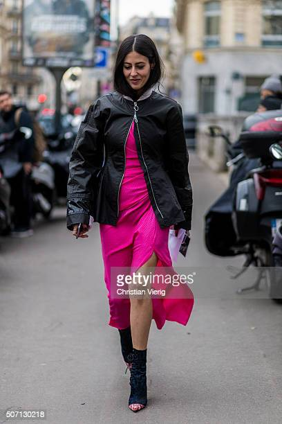 Gilda Ambrosio outside Jean Paul Gaultier during the Paris Fashion Week Haute Couture Spring/Summer 2016 on January 27 2016 in Paris France