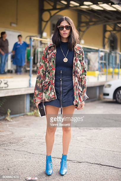Gilda Ambrosio poses after the Diesel Black Gold show during Milan Fashion Week Spring/Summer 2017 on September 23 2016 in Milan Italy