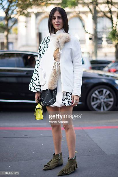 Gilda Ambrosio poses after the Rochas show at the Palais de Tokyo during Paris Fashion Week Womenswear SS17 on September 28 2016 in Paris France