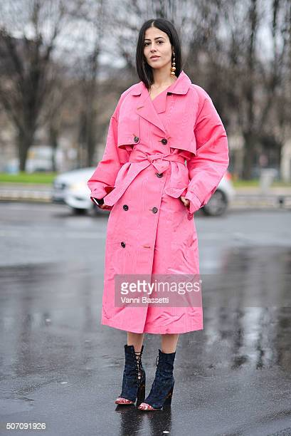 Gilda Ambrosio poses wearing an Alessandra Rich coat after the Margiela show at Hotel National des Invalides during Haute Couture Spring Summer 16 on...