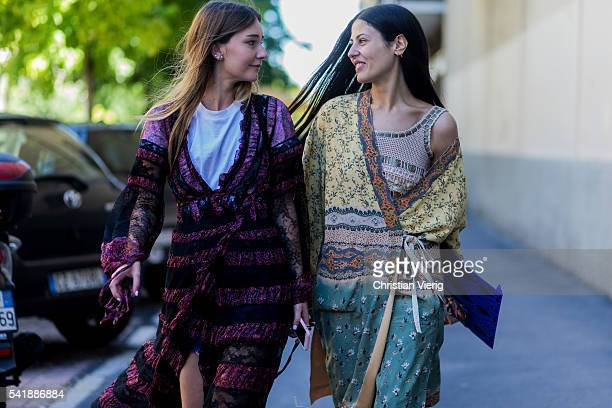 Gilda Ambrosio wearing a boho dress and Chiara Capitani outside Etro during the Milan Men's Fashion Week Spring/Summer 2017 on June 20 2016 in Milan...