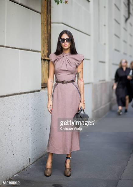 Gilda Ambrosio wearing a dress is seen outside Bottega Veneta during Milan Fashion Week Spring/Summer 2018 on September 23 2017 in Milan Italy