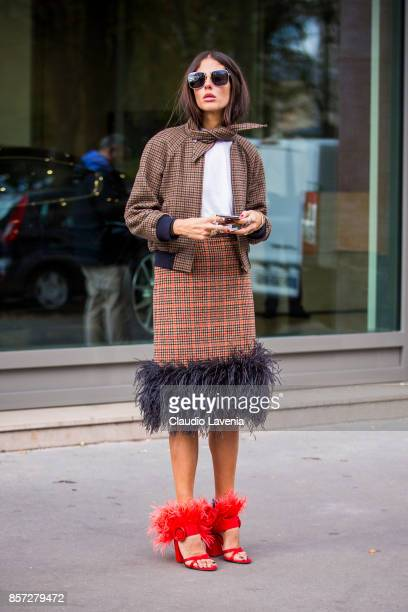 Gilda d'Ambrosio is seen after the Moncler Gamme Rouge show during Paris Fashion Week Womenswear SS18 on October 3 2017 in Paris France