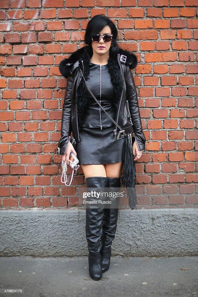 Gilda Koral Flora wears Apero Jacket, Barbara Bonner bag outside the Fendi Fashion Show on day 2 of Milan Fashion Week Womenswear Autumn/Winter 2014 on February 20, 2014 in Milan, Italy.