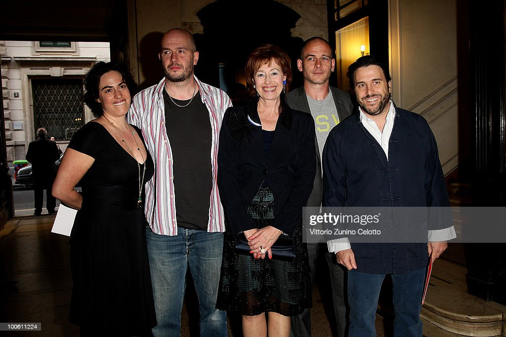 Gilda Moratti, Jake Chapman, Letizia Moratti, Dinos Chapman and Emanuele Bonomi attend the Jake And Dinos Chapman Opening At The ProjectB Gallery on May 25, 2010 in Milan, Italy.