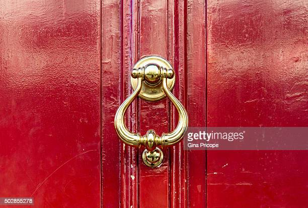 Gilded knocker close up.