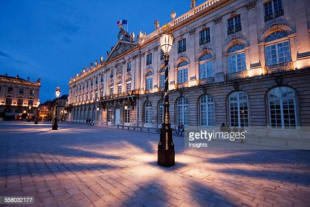 Gilded Wrought Iron Lantern Created By Jean Lamou In Front Of The Hotel De Ville On Place Stanislas At Night Nancy France