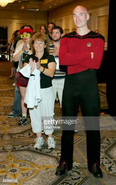 Giles Aston of England dressed as actor Patrick Stewart's Capt JeanLuc Picard character from the television series 'Star Trek The Next Generation'...