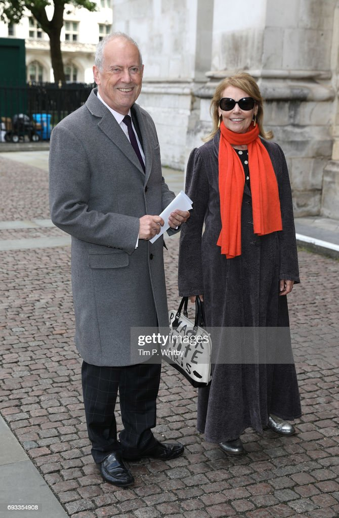 Giles Brandreth and Michele Brown attend a memorial service for comedian Ronnie Corbett at Westminster Abbey on June 7, 2017 in London, England. Corbett died in March 2016 at the age of 85.
